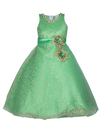 My Lil Princess Baby Girls Birthday Party wear Frock Dress_Green Two Pearls_Georgette...
