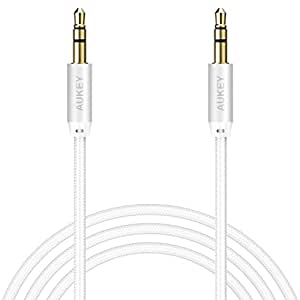AUKEY Aux Cable Nylon Braided Cable 1.2m / 3.9ft 3.5mm Audio Cable for Speaker , Phone , Tablet , Notebook , MP3 / 4 , Car Aux Interface and More - Sliver