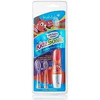 Cepillo de dientes eléctrico KidzSonic de Brush-Baby   Niños   +6 años   ¡Luces, vibración y temporizador de 2 min hacen que cepillarse sea divertido!   Rojo, con 3 cabezales de reemplazo y 1 pila AAA