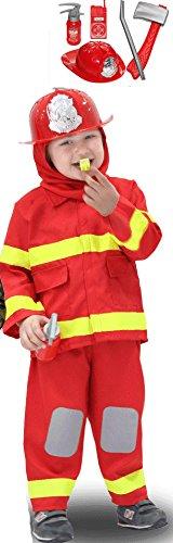 VESTITO COSTUME Maschera di CARNEVALE baby - PICCOLO POMPIERE - Taglia 4/5 anni - 83 cm