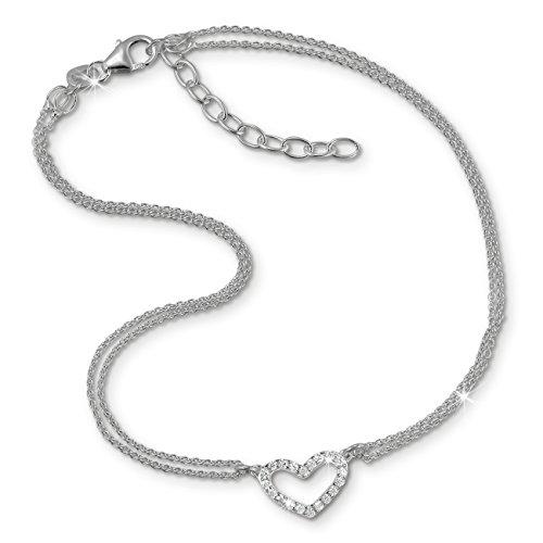 SilberDream Fußkette weiß für Damen Silberschmuck Herz Zirkonia 27cm SDF0383J