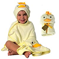 HECKBO 3D duck hooded towel + free washcloth   0 - 6 years   100% bamboo   36x40 inch   Bath towel with hood for boys & girls   Baby bathrobe, children