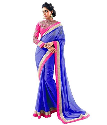 Janasya Chiffon Saree (Jne0290 _Blue)