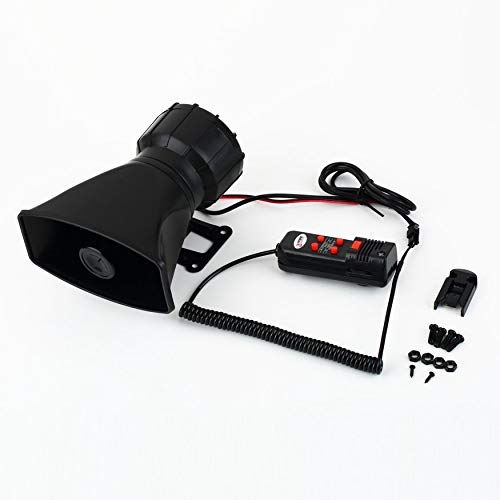 Yaoaoden Loud Horn 12V Car Siren Auto Van Truck PA System 60W Max 300dB 5 Sounds Tone Long Life Time ABS Plastic Auto Horn (Pa Horn Siren)