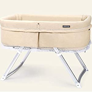 ZXCVB Travel Multifunctional Crib Travel Baby Cot Multifunctional Folding Portable Crib Cradle Bed Newborn Shaker 94 * 56 * 65cm,(3 Kinds Color) (Color : Beige)   2