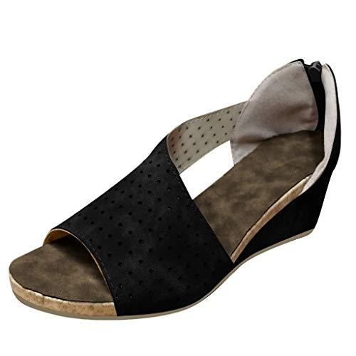 COZOCO Damenmode Wedges Schuhe Flacher Mund Peep Toe Sandalen Casual Strandschuhe Römersandalen(schwarz,35 EU)