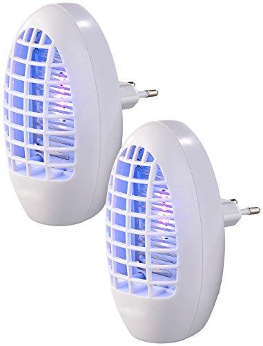 EXBUSTER Mückenschutz: 2er-Set Steckdosen-Insektenvernichter mit UV-Licht, für Räume bis 20m² (Mückenabwehr)