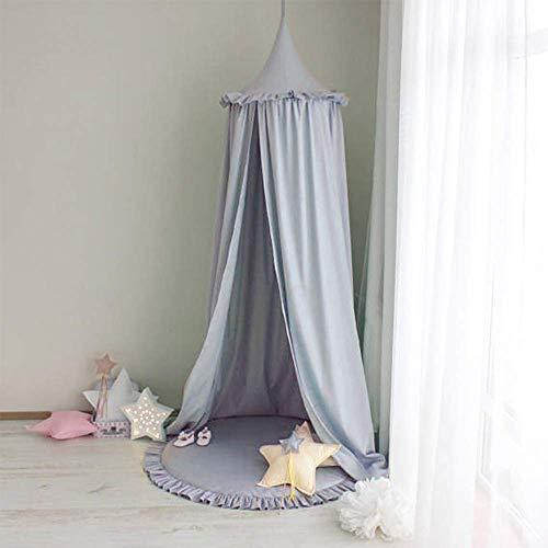 Baby Seidenbaumwollgewebe Baldachin, Tyhbelle kinder Bett Kuppel Chiffon Betthimmel Moskitonetz Spiel Zelt Gut für Baby Ankleidezimmer Innen im Freienspiel Lese Schlafzimmer (Baumwoll-Grau)