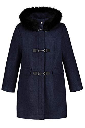 Ulla Popken Femme Grandes Tailles Duffle-Coat Laine, Capuche Imitation Fourrure Bleu Marine chiné 56/58 718985 70-54+