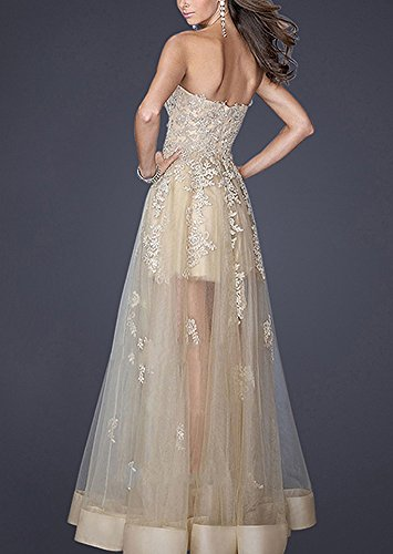 LaoZan Damen Trägerlos Stickerei Doppel Partykleid Abendkleid für Cocktails Bankette Hochzeiten Formelle Anlässe Champagner