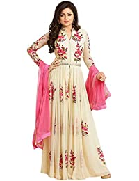 AnK Sale Offer Women's Georgette Embroidered Designer Semi Stitched Long Anarkali Style Suit