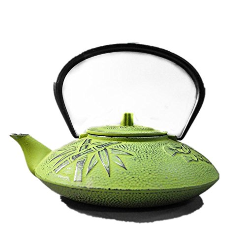 Fusioni giapponese Ferro Teapot Shochiku Plum pattern luminoso smalto Tè