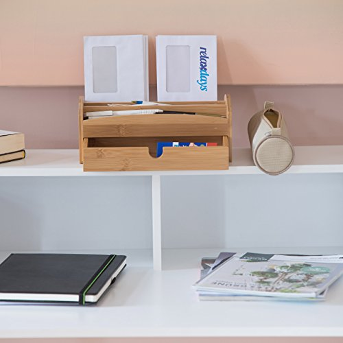 Relaxdays Schreibtischorganizer aus Bambus, Multiköcher mit 4 Fächern und Schublade, natürliche Maserung, HBT: ca. 11 x 27,5 x 15 cm, natur - 2