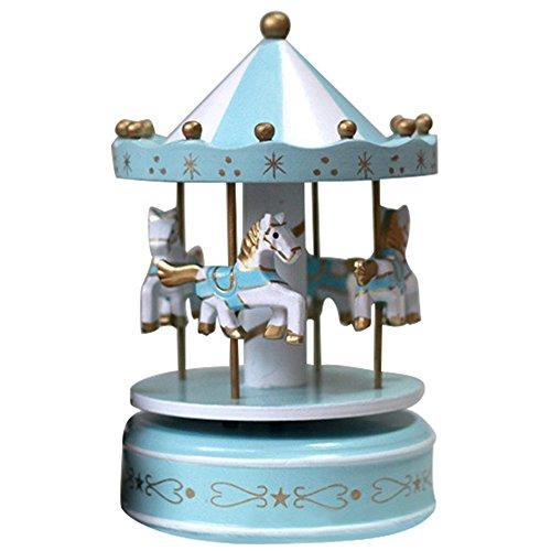Gosear Klassisches Karussell Pferde drehen Musik Spieluhr Spieldose mit Burg in den Himmel Melodie Home Dekoration Kind Kinder Urlaub Geburtstagsgeschenk A