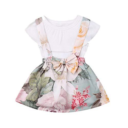 Elsta Babykleidung Baby Mädchen Sommer Kleid Mädchen Floral Kurze Kleidung Set Ärmellose Rüschenoberteile Overall Volltonfarbe Top + Blume Latzhose Baby Kleidung Outfits