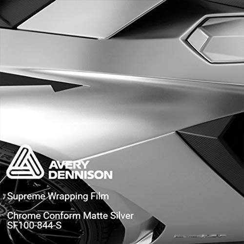 Avery SF100 Conform Chrome Matte Silver | 844-S | Vinyl CAR WRAP Film (Sample 2.5in x 4in) (Chrome Wrap Vinyl)