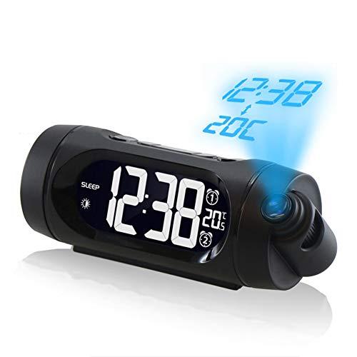 XJYA Réveil de Projection,FM numérique Radio réveil,Fonction de Rappel d'alarme Double,Affichage à LED avec Lumineux avec 3 dimmer,Température ambiante,12/24 Heures,Port de Charge USB pour Chambre