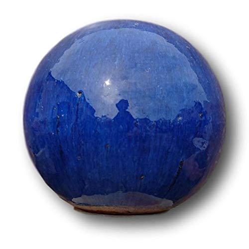 terracotta-toepfe-de Kugel ca. 20 cm aus Steinzeug Keramik, blau glasiert Deko Garten