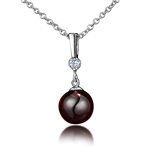 Price comparison product image Ruby Red Crystal Harmony Ball Lucky Bead Pendant Necklace 925 Sterling Silver For Girl Women