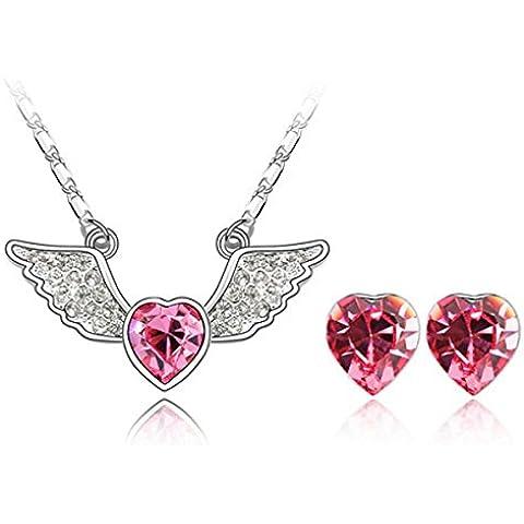 Collana e orecchini con cristalli Swarovski a forma di Angel Heart, collana e orecchini