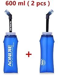 Aonijie bouteille d'eau pliable souple en TPU avec longue paillette, sac d'eau d'extérieur pour sport avec paille, 2 pièces