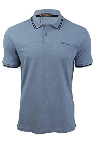 ben-sherman-polo-uni-col-chemise-classique-manches-courtes-homme-bleu-bleu-bleu-x-large