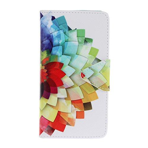 Owbb Couleur Demi-fleur PU Leather Étui Coque pour WIKO LENNY2 téléphone bouton Triangle protection