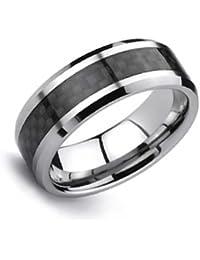 Bling Jewelry negro Anillo con incrustaciones de fibra de carbono de tungsteno de 8mm