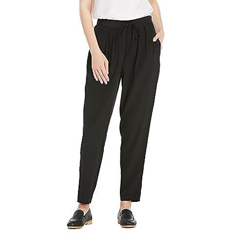 LILYSILK Women's Silk Wide Leg Trousers Pants Bottoms Ladies Summer 18 Momme Pure Silk Black Size M