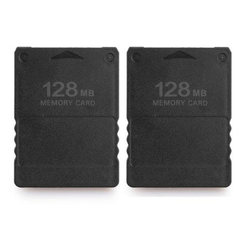 2x Speicherkarte 128MB Memory Karte für Playstation PS2 Schwarz NEU