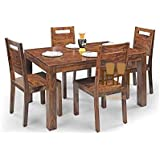 Shree Jeen Mata Enterprises Sheesham Wood Dining Table Set with 4 Chairs for Living Room | 4 Seater Dining Table Set | Mahogany
