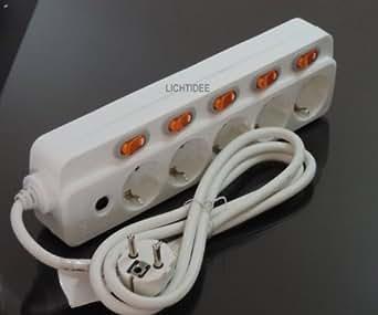 5-fach Steckdosenleiste einzeln schaltbar