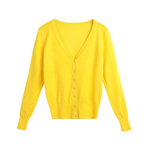 Strickjacke Gelb Damen (Romacci Damen Strickjacke Cardigan Basic Kurz Cardigan Langarmshirt O-Ausschnitt Botton Taste Strickjacke , Farbe - Gelb , Gr. S)