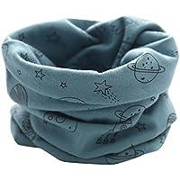 Otoño Invierno Bufanda para Bebé Niños Niñas,O Cuello Patrón Cósmico Algodón Pañuelos By VENMO (azul)