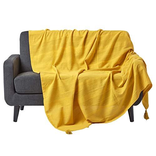 Homescapes waschbare Tagesdecke Sofaüberwurf Plaid Rajput Sonnengelb 150 x 200 cm RIPP-Optik...