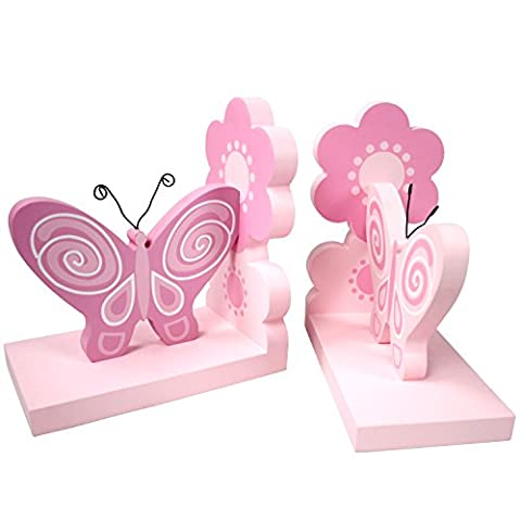 Hoddmimis Home & Living Pink Butterflies Themed Wooden Bookends for Kids (Set of 2)