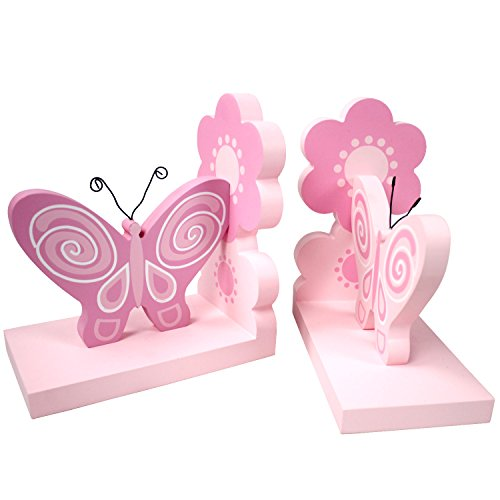 hoddmimis-home-living-pink-butterflies-themed-wooden-bookends-for-kids-set-of-2