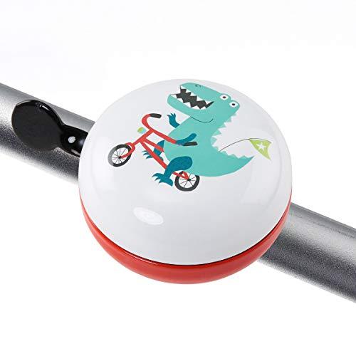 Butlers Ding Dong Fahrradklingel Dino Ø 8 cm mit lustigem Motiv - Rot-Weiße Klingel - Große Fahrradglocke aus Eisen