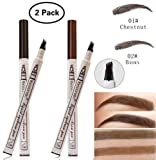 Dkina Tattoo Augenbrauenstift, 2 Farben Wasserdicht Augenbrauenstift mit 4 Tipps Wischfest Langanhaltend Eyebrow Pencil für Augen Make-up(Chestnut & Brown)