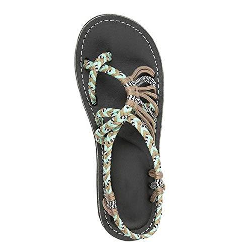 QIMITE Sandalias Planas Sandalias Planas Sandalias para Mujer Verano Cuerda de cáñamo Sandalias Sandalias Sandalias de Verano Moda Romana Zapatillas de Mujer, Color de Foto, 38