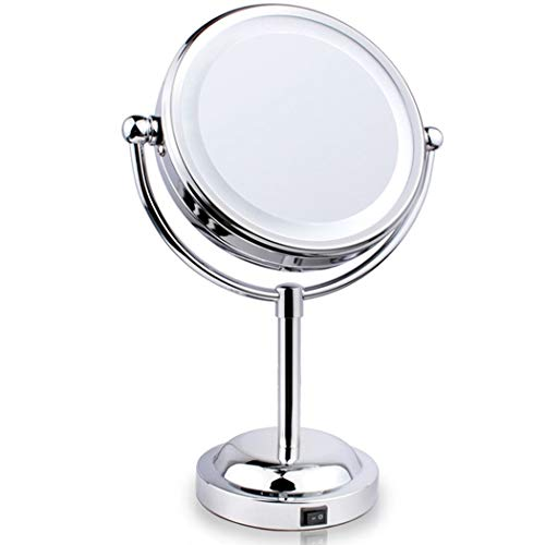 LEDHZJYLW Led Schminkspiegel 360-Grad-Einfaches Design Desktop Kreative Kreisspiegel 3X Badezimmer...