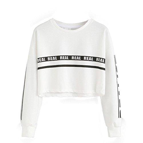 Familizo hoodies,Women Fashion White Letter Print Crop Sweatshirt Top Blouse