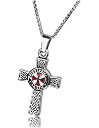 Zysta Men's Women's Stainless Steel Templar Knights Jewellery - Celtic Cross Pendant Chain Celtic Knot Necklace Malta Cross Chain Amulet with 24 Inch Chain Punk Biker for Gift