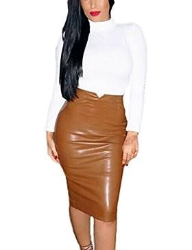 Mujeres Calientes De Cremallera PU Sólido Cintura Alta Falda De Una Linea Mini Falda Bodycon