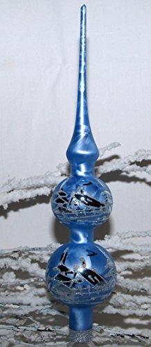 Christbaumspitze 'eisblau' mit silber Winterlandschaft mundgeblasen handbemalt