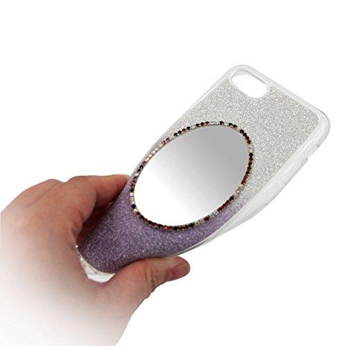 Ellipse Miroir Coque Pour Iphone 7 PLUS, SKYXD Soft Silicone TPU Coque Étui Bling Glitter Paillette Housse Miroir de Maquillage Shiny Strass Brillant Back Cover Pour Iphone 7 PLUS -- Gradient Bleu Violet