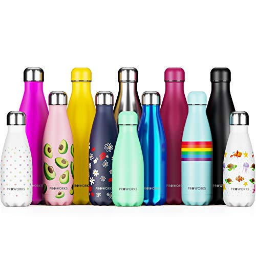 Proworks Botellas de Agua Deportiva de Acero Inoxidable | Cantimplora Termo con Doble Aislamiento para 12 Horas de Bebida Caliente y 24 Horas de Bebida Fría - Libre de BPA - 350ml - Azul Metalizado