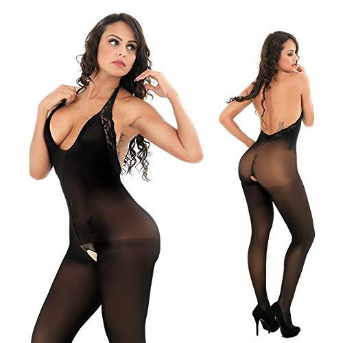 Strumpf Körper Kostüm - FUNFSEX Sexy Womens Sheer und Opaque Halter Open Crotch bodystrumpf Low Cut Back Spitze Körper Strumpf-Body Anzug Erotische Dessous