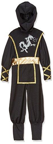 Dragon Gold Ninja Kostüm - Kostüm F516-002 Ninja Kostüm 5-7 Jahre 116 cm schwarz und gold