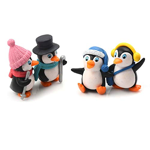 Kimballkq 4 Teile/Satz DIY Handwerk Mini Winter Pinguin Miniatur Figur Weihnachtsfiguren Für Fairy Garden Home Decoration